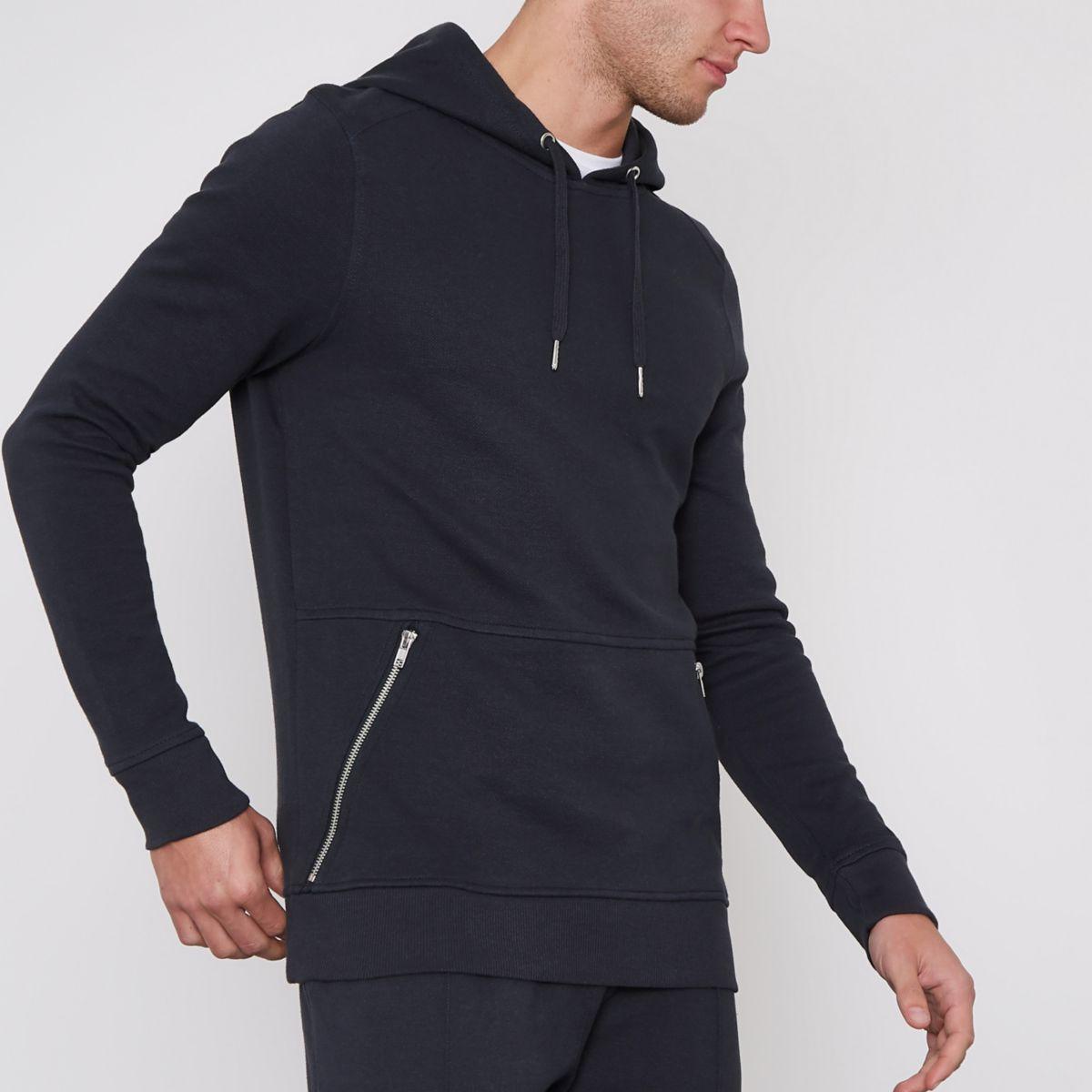 Navy pique zip pocket muscle fit hoodie