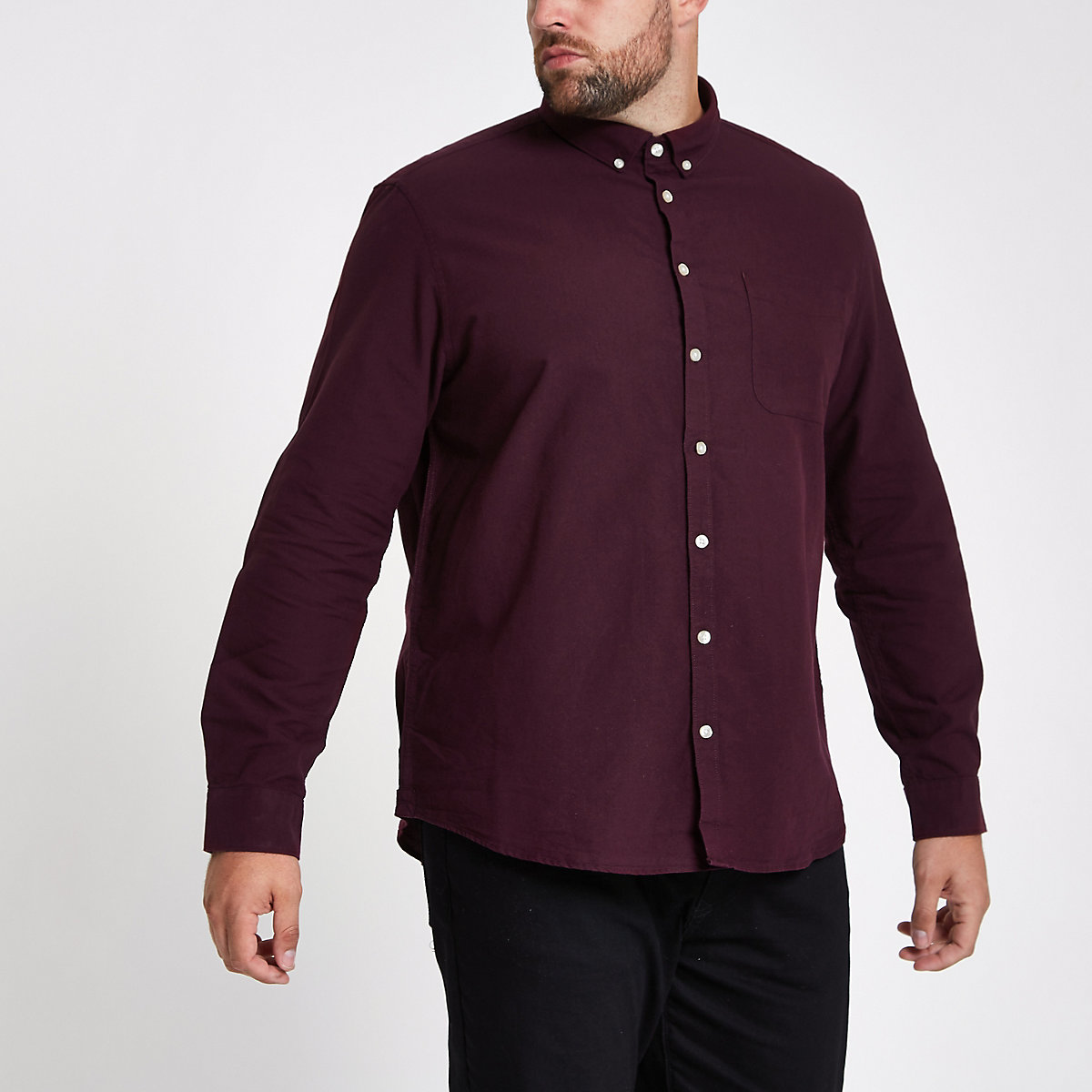 Big and Tall burgundy long sleeve shirt