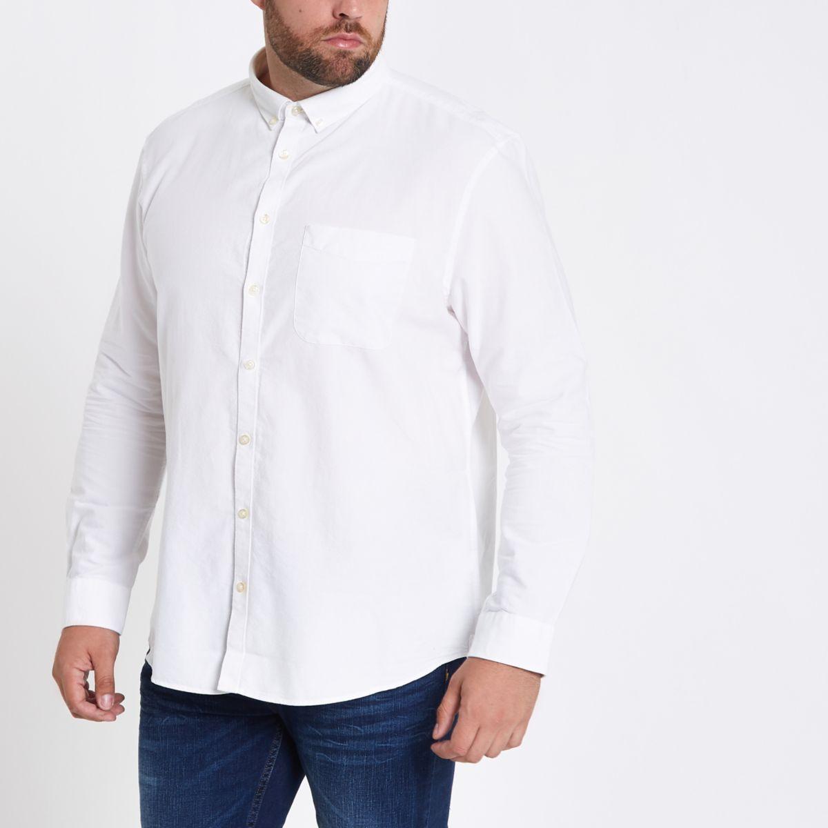 Weißes, langärmliges Oxford Hemd