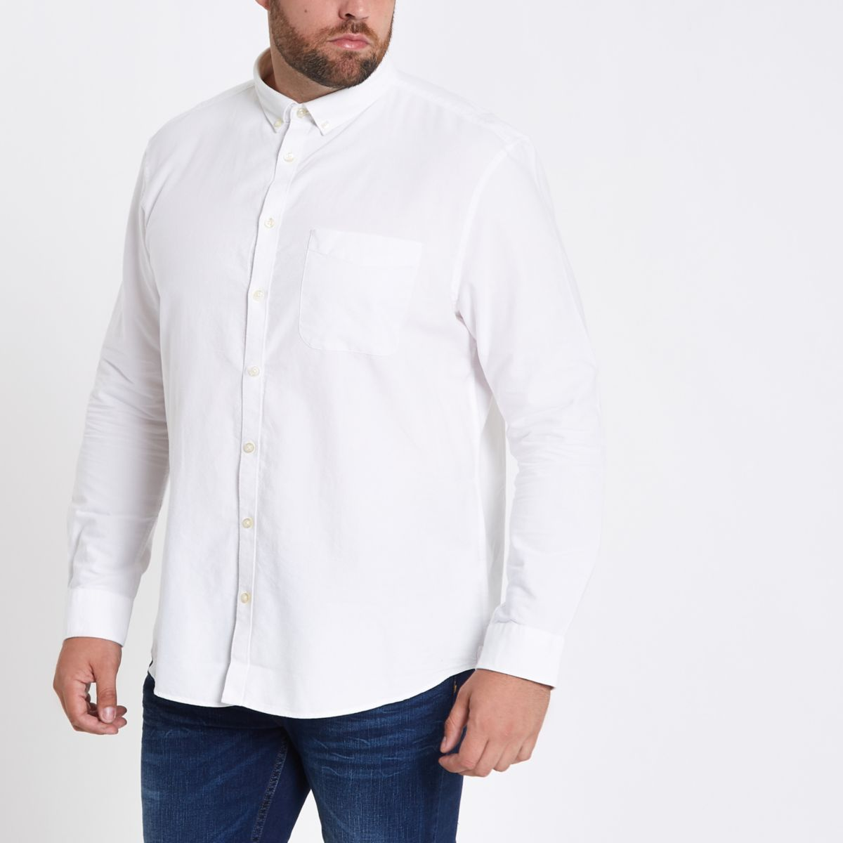 Big and Tall – Chemise blanche boutonnée