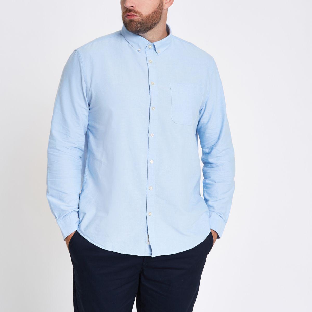 Big and Tall – Chemise bleu clair boutonnée