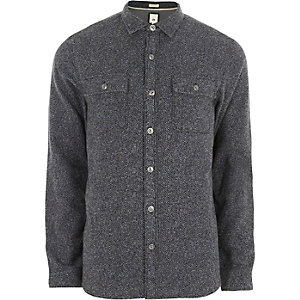Grey grindle long sleeve casual shirt