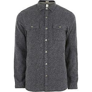 Chemise casual gris chiné à manches longues