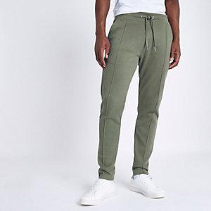 Pantalon de jogging ajusté en piqué vert