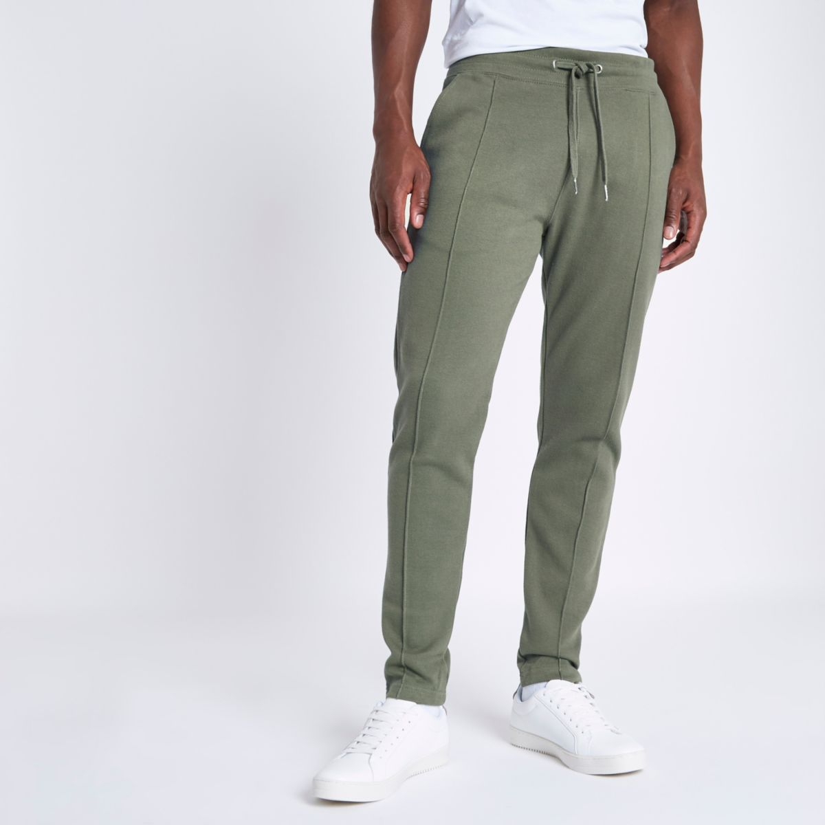 Green muscle fit pique joggers