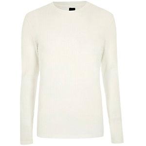 T-shirt crème en maille côtelée à manches longues