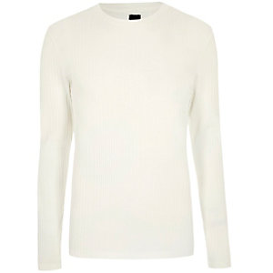 Crème geribbeld T-shirt met lange mouwen