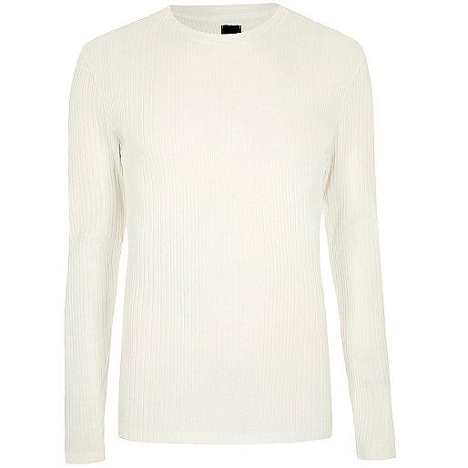 Cream ribbed long sleeve knit jumper
