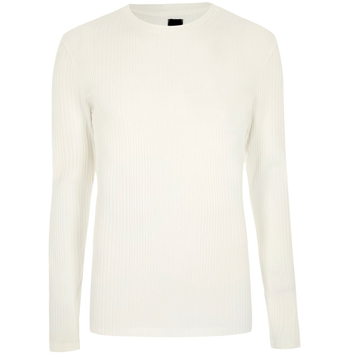 Cream ribbed long sleeve knit T-shirt