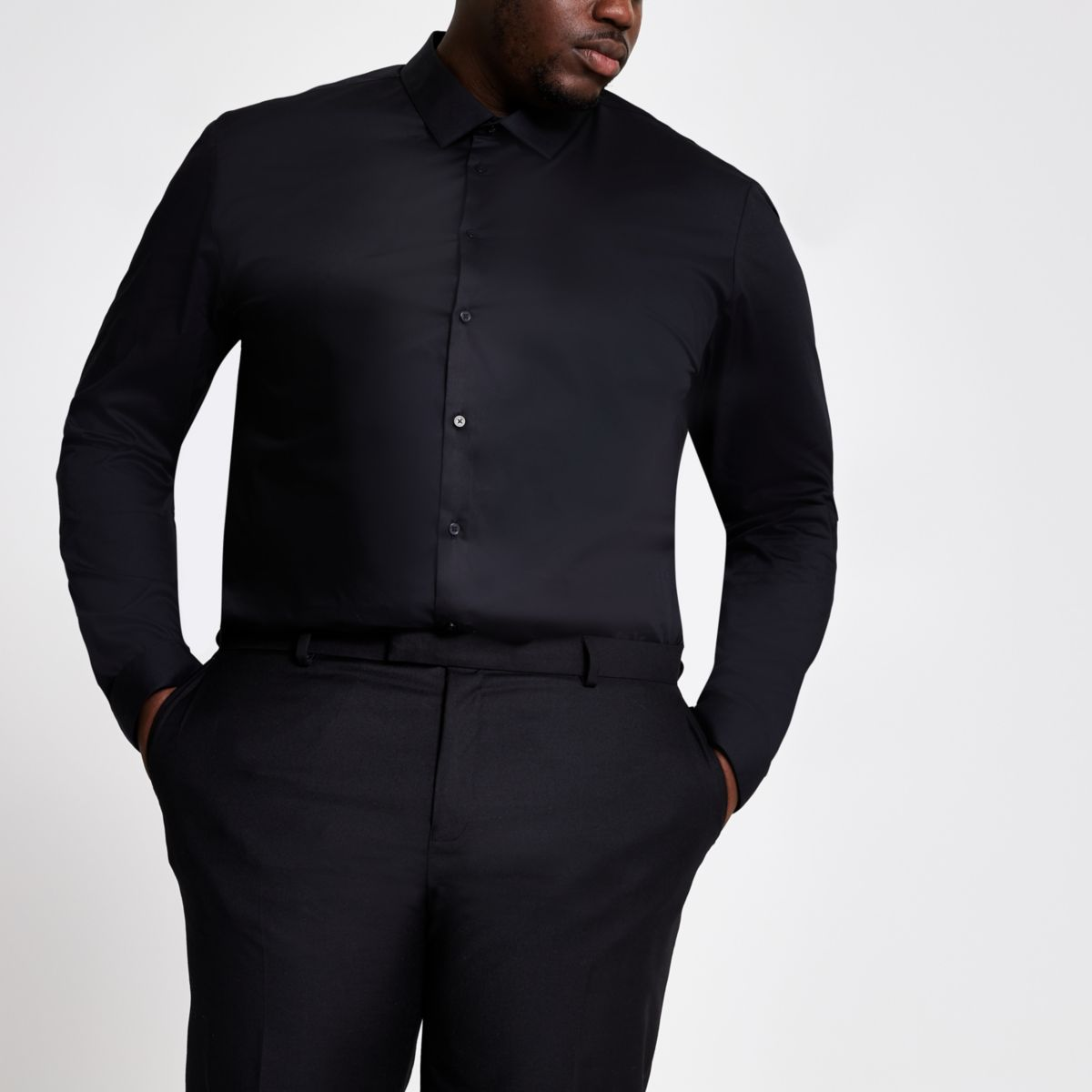 Big and Tall black long sleeve shirt