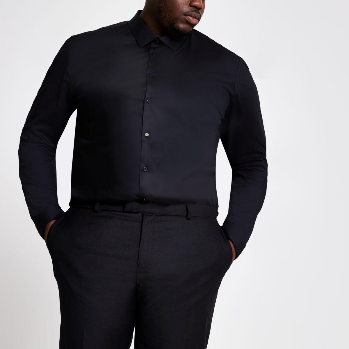 RI Big and Tall - Zwart overhemd met lange mouwen