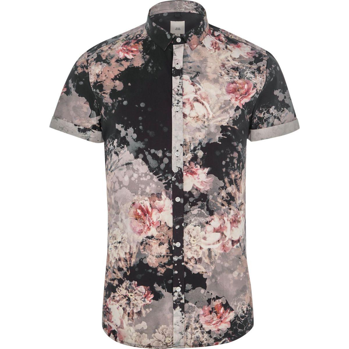 Big and Tall - Zwart overhemd met korte mouwen en bloemenprint