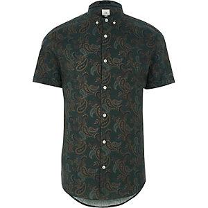 Grünes Kurzarmhemd mit Paisley-Print