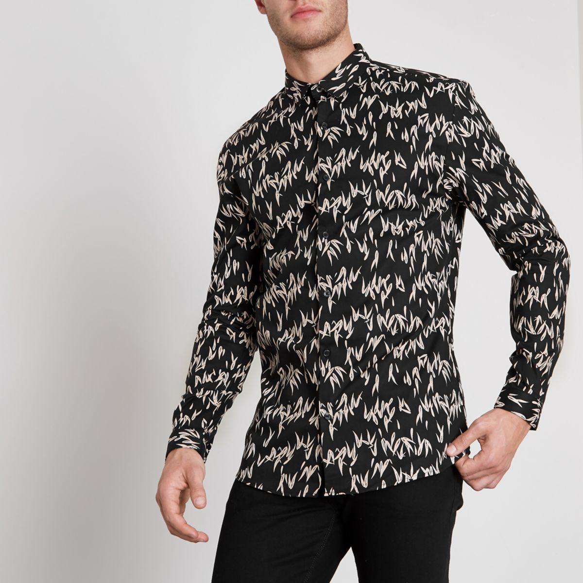 Zwart aansluitend overhemd met druppelprint