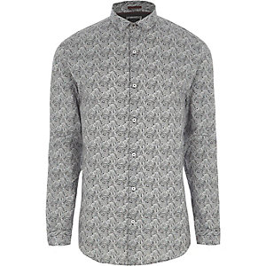 Graues Muscle Fit Hemd mit Paisley-Muster