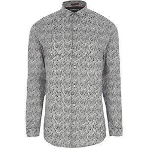 Grijs aansluitend overhemd met paisleyprint