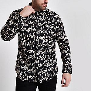 Big & Tall – Schwarzes, langärmliges Hemd mit Print
