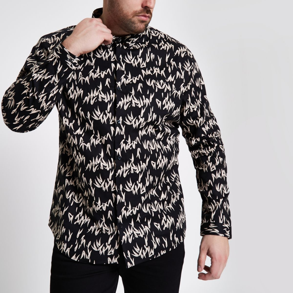 Big and Tall black printed long sleeve shirt