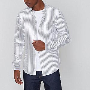 Grijs gestreept slim-fit Oxford overhemd