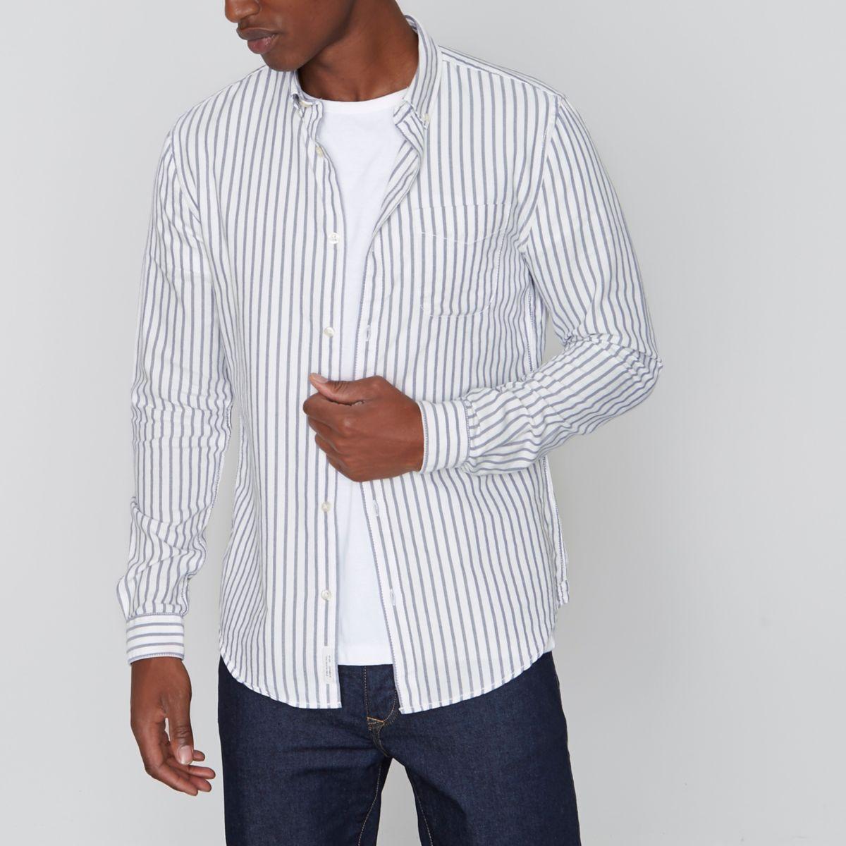 Graues Slim Fit Oxford-Hemd
