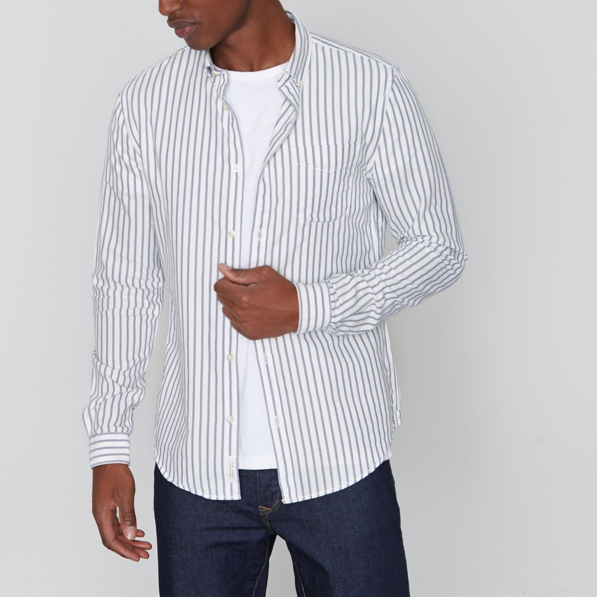 Grey stripe slim fit Oxford shirt
