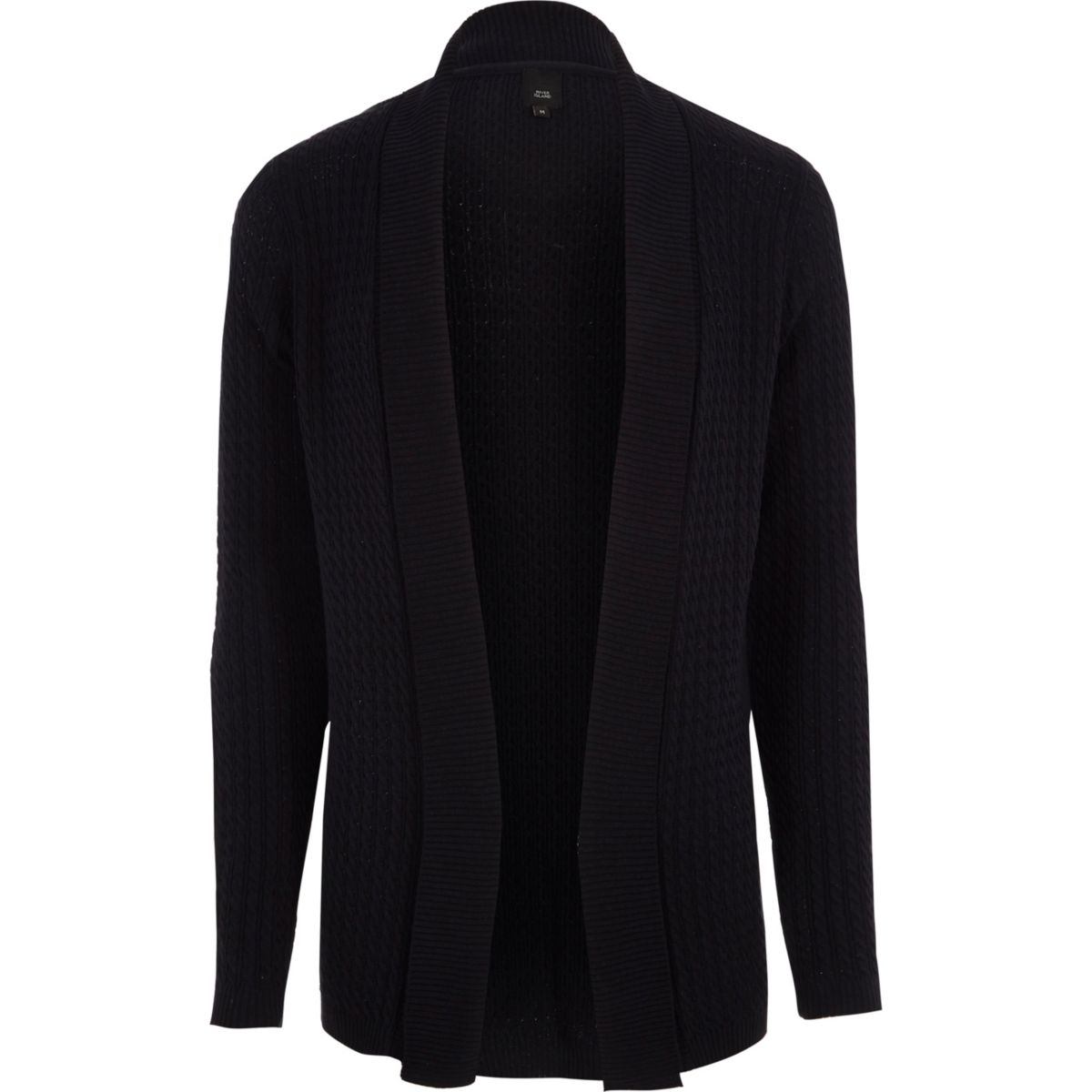 Navy cable knit open front cardigan