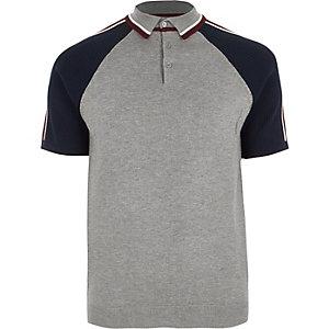 Big and Tall grey block sleeve polo shirt