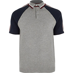 Big and Tall grey block sleeve polo shirt