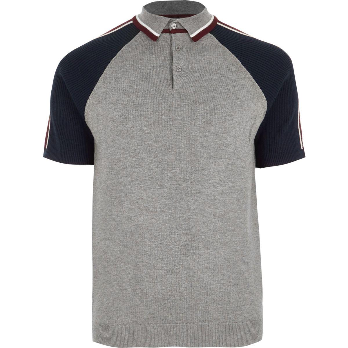 Big and tall grey block sleeve polo shirt polo shirts for Polo shirts for men on sale