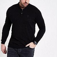 Big and Tall black long sleeve polo shirt