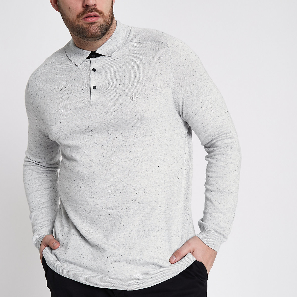 Big and Tall grey long sleeve knit polo shirt