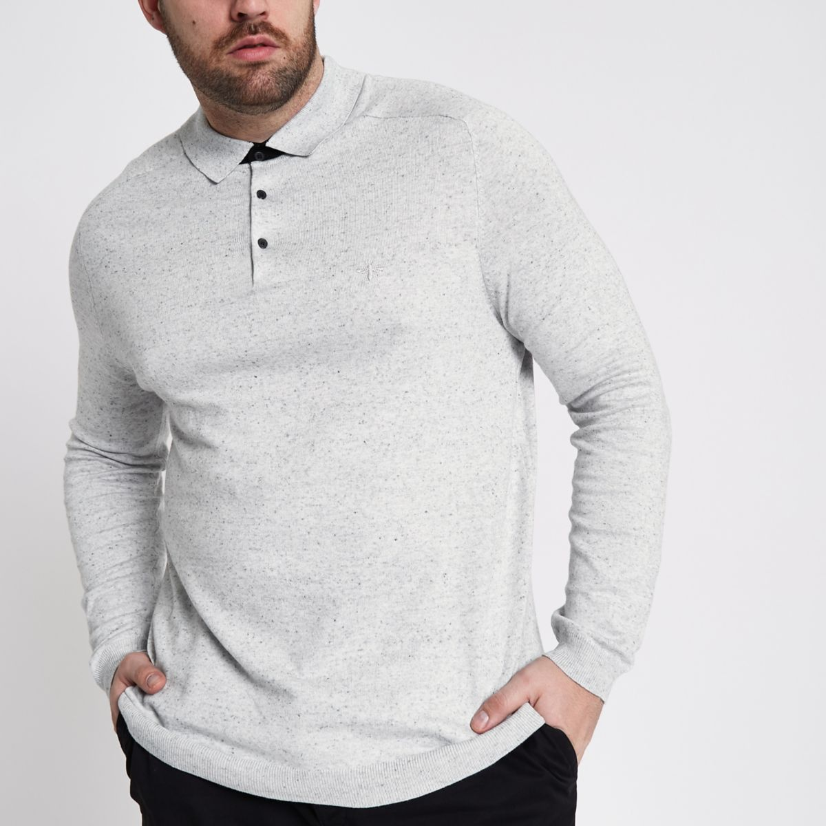 Big and Tall – Polo en maille gris à manches longues