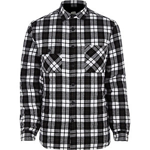 Black long sleeve quilted check shacket