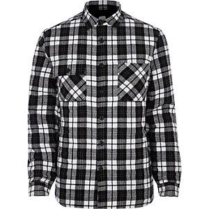 Veste-chemise à carreaux noire matelassée à manches longues