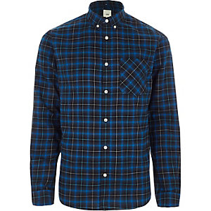 Blue check button-down collar shirt