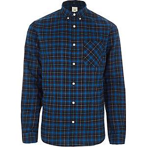 Chemise à carreaux bleue à boutons