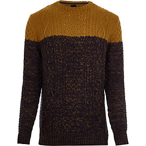Big and Tall mustard block cable knit sweater