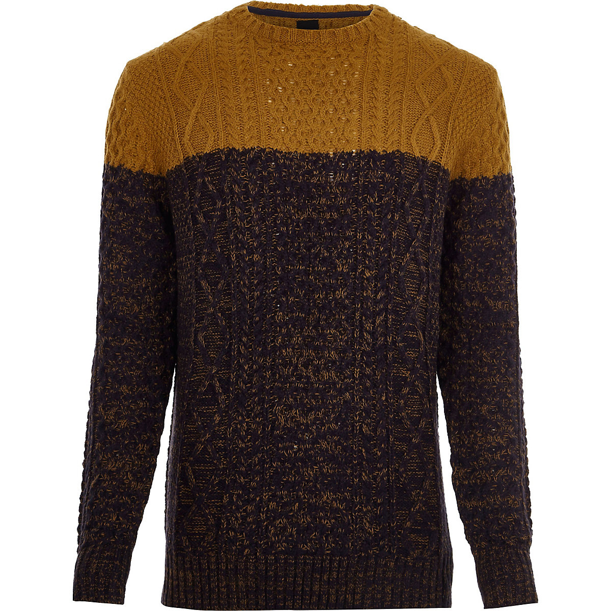 Big and Tall mustard block cable knit jumper