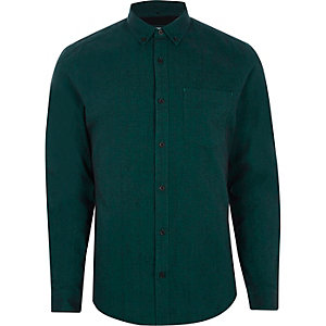 Langärmliges Slim Fit Oxford-Hemd in Petrol