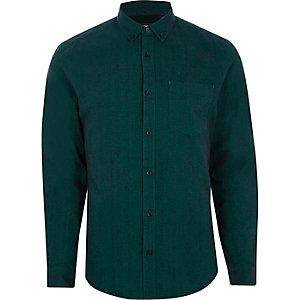 Blauwgroen slim-fit Oxford overhemd met lange mouwen