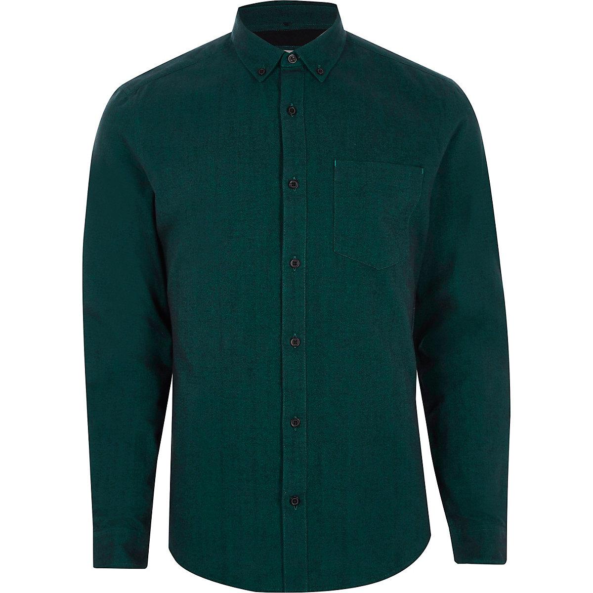 Teal slim fit long sleeve Oxford shirt