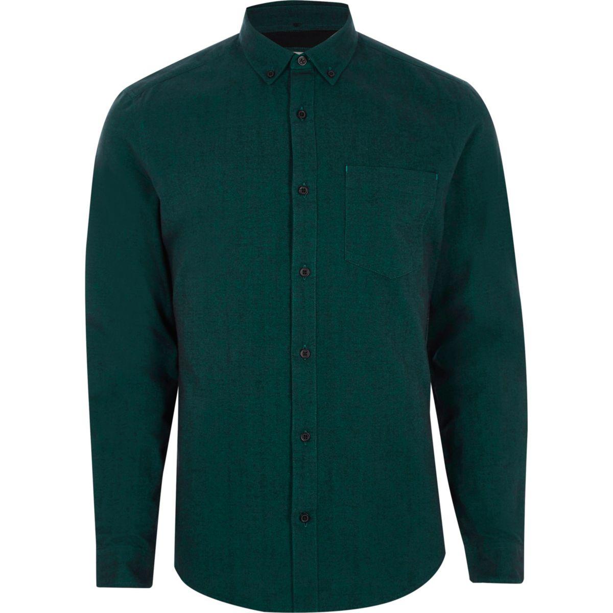 Teal Slim Fit Long Sleeve Oxford Shirt Shirts Sale Men