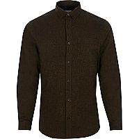 Dark brown slim fit Oxford shirt