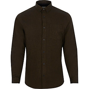 Dark brown slim fit Oxford shirt
