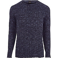 Big and Tall navy ribbed jumper