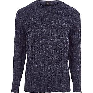 RI Big and Tall - Marineblauwe geribbelde pullover
