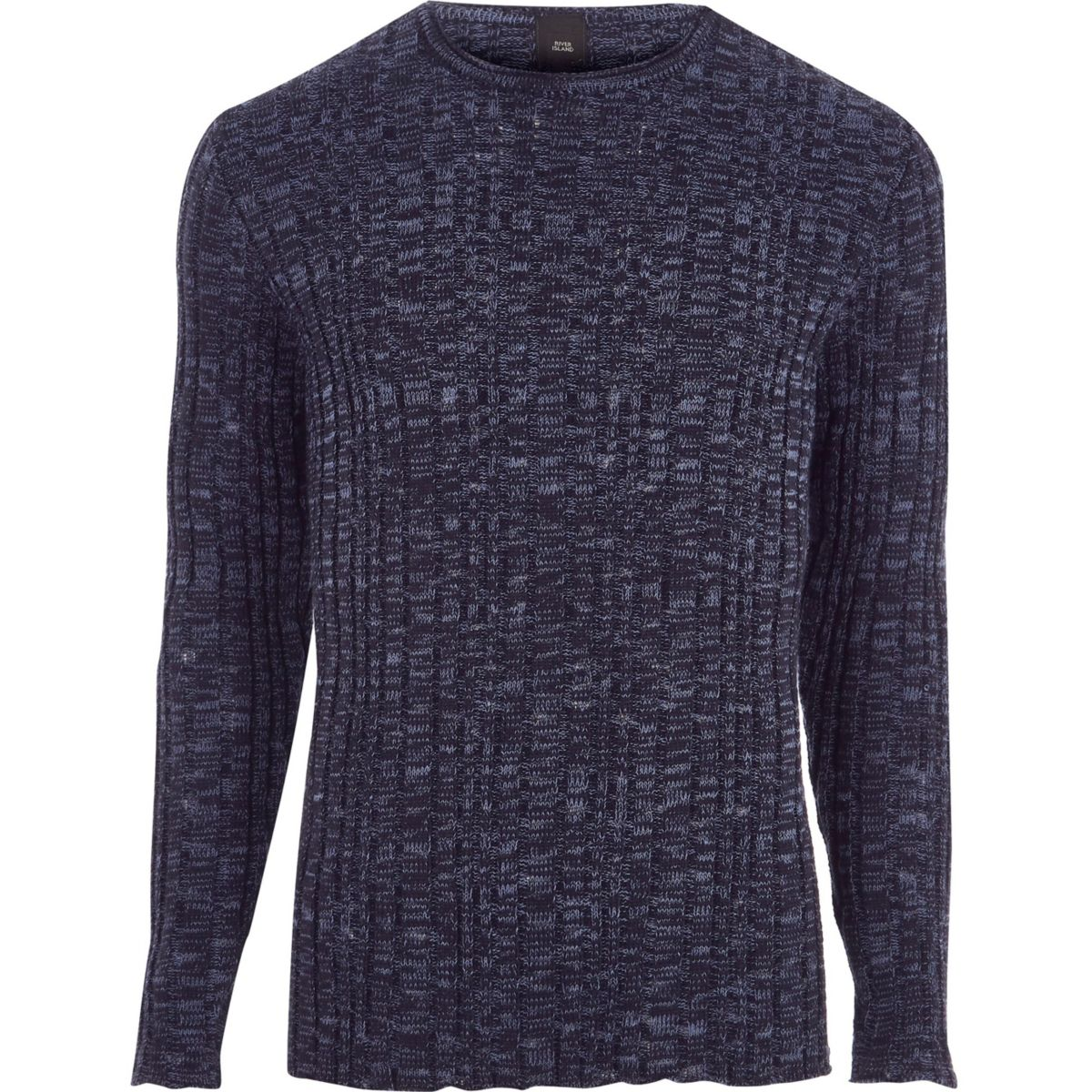 Big and Tall navy ribbed sweater