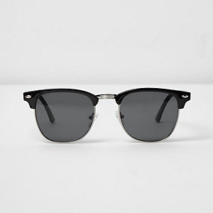 Black retro style smoke lens sunglasses
