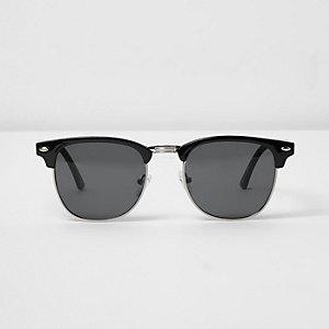Zwarte zonnebril in retrostijl met grijze glazen