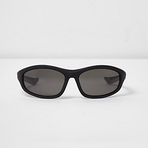 Black wraparound rubber arm sunglasses